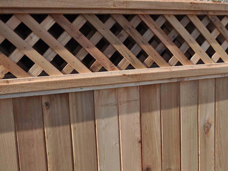 Cedar Lattice Panels ~ Diagonal lattice cedar fence panels big red