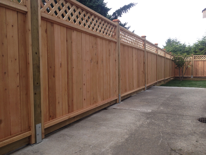 Diagonal lattice cedar fence panels big red